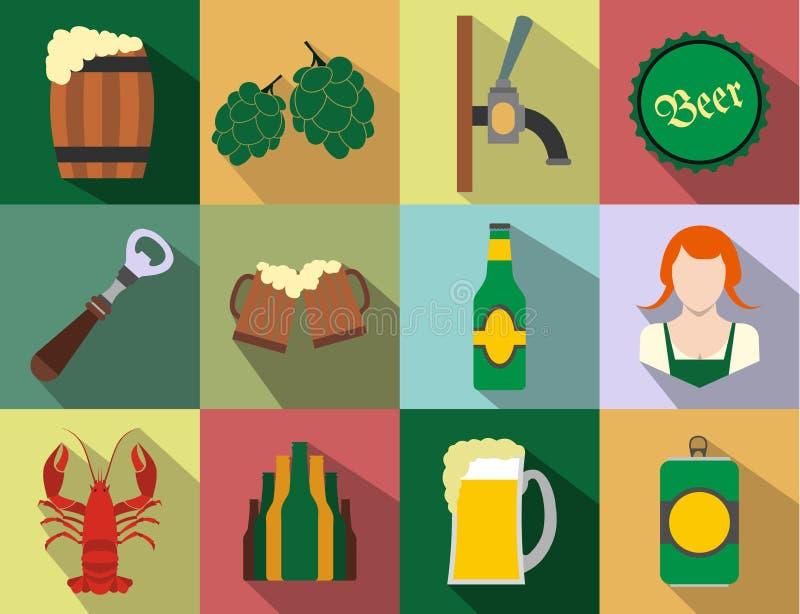 Ícones lisos da cerveja ajustados ilustração stock
