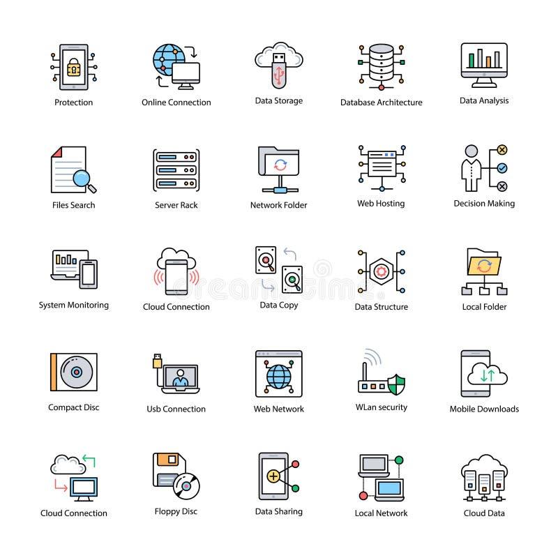 Ícones lisos da ciência dos dados ilustração stock