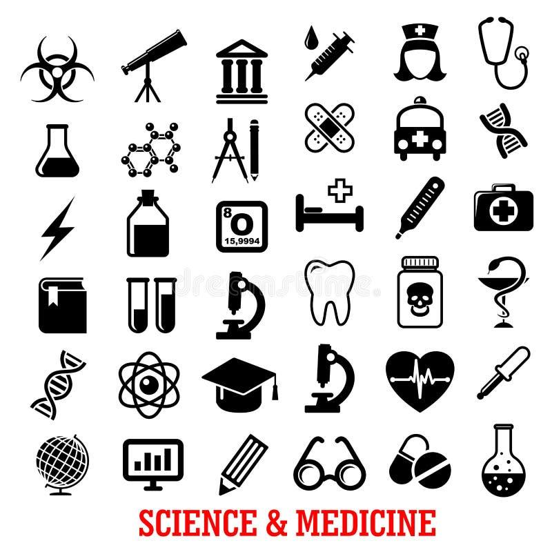 Ícones lisos da ciência e da medicina ilustração do vetor