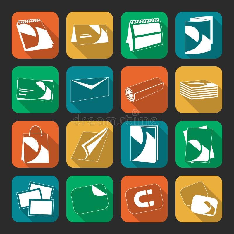 Ícones lisos da cor da Web da casa de impressão ajustados imagem de stock royalty free