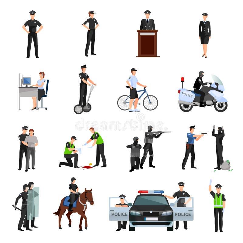 Ícones lisos da cor dos povos da polícia ajustados ilustração do vetor