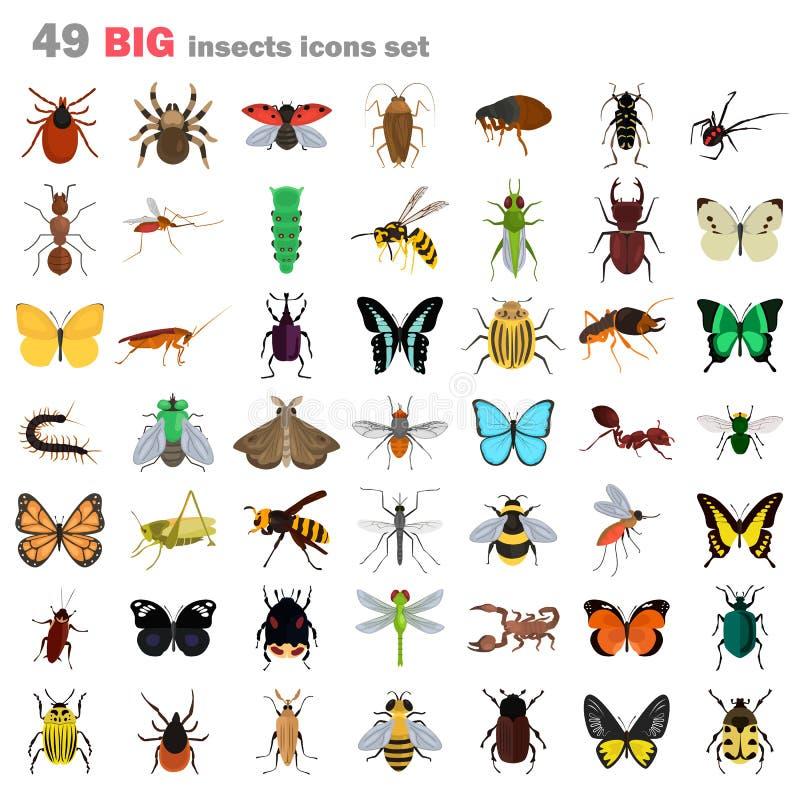 Ícones lisos da cor grande dos insetos ajustados ilustração stock