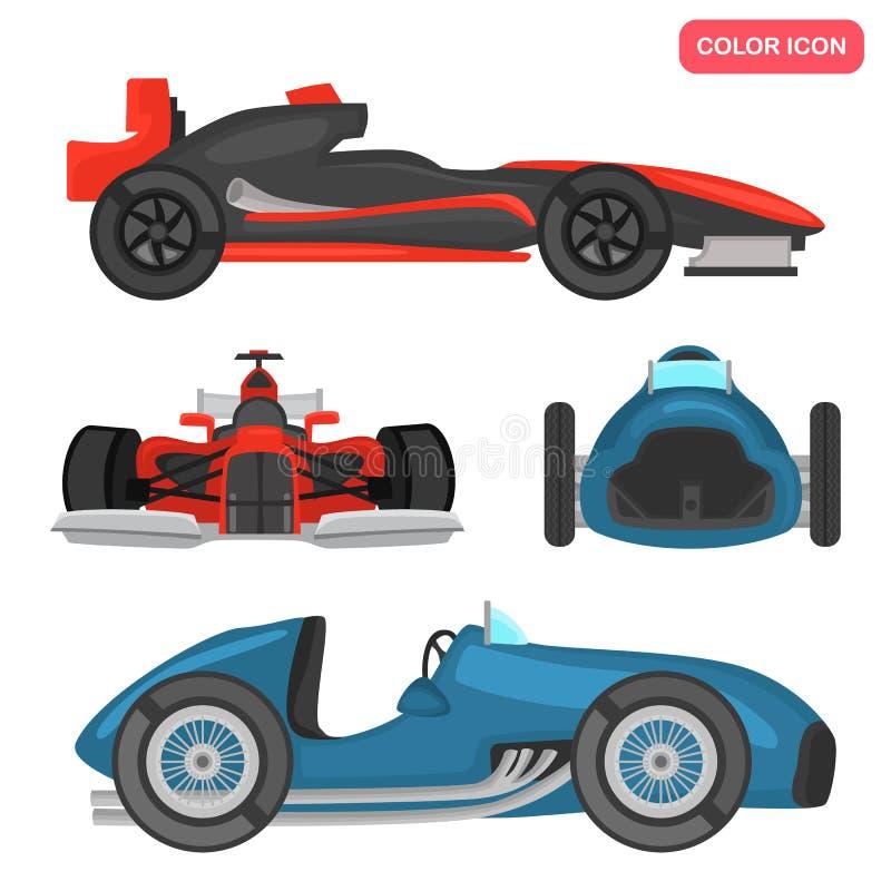 Ícones lisos da cor moderna e retro dos carros de competência do esporte ajustados ilustração stock