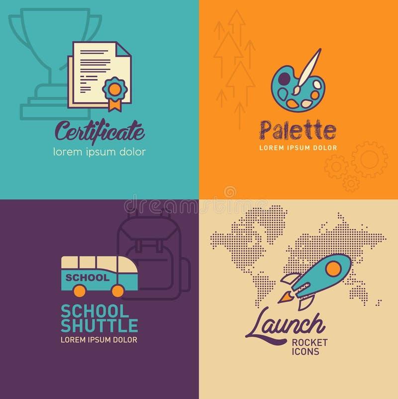 Ícones lisos da educação, ícone do certificado, ícone da paleta, ônibus escolar, ícone do foguete com ícone do mapa do mundo ilustração royalty free