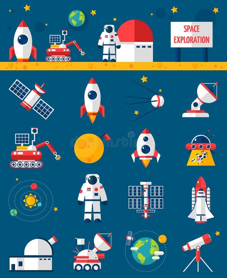 Ícones lisos da exploração do cosmos do espaço ajustados ilustração stock