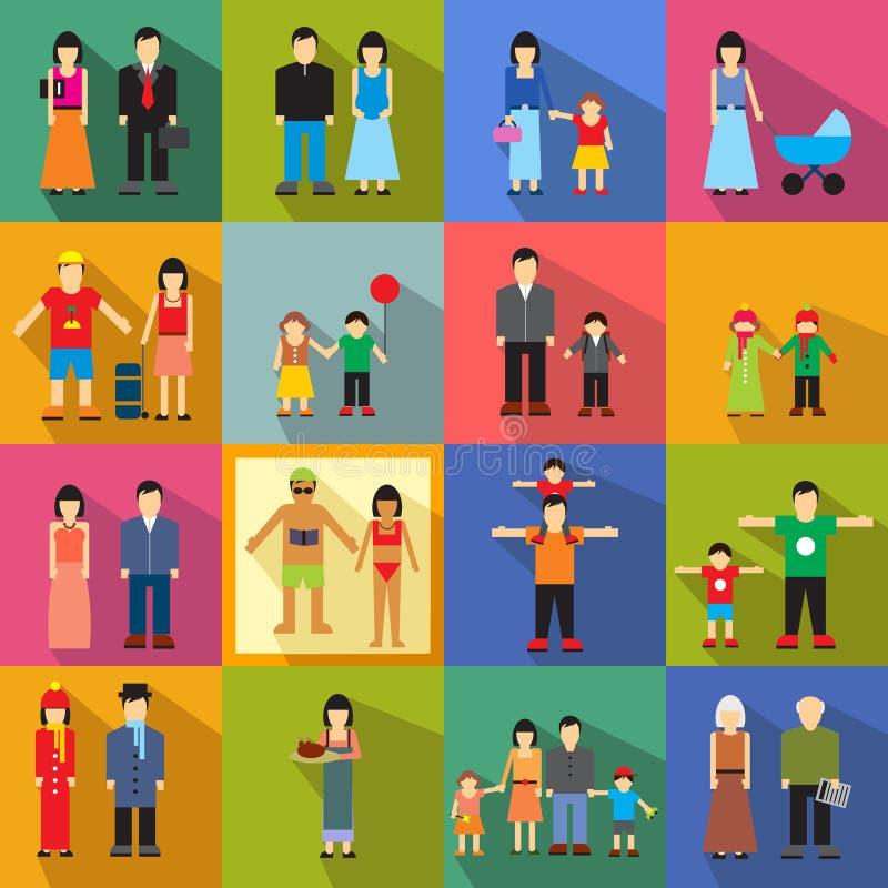 Ícones lisos da família ilustração stock