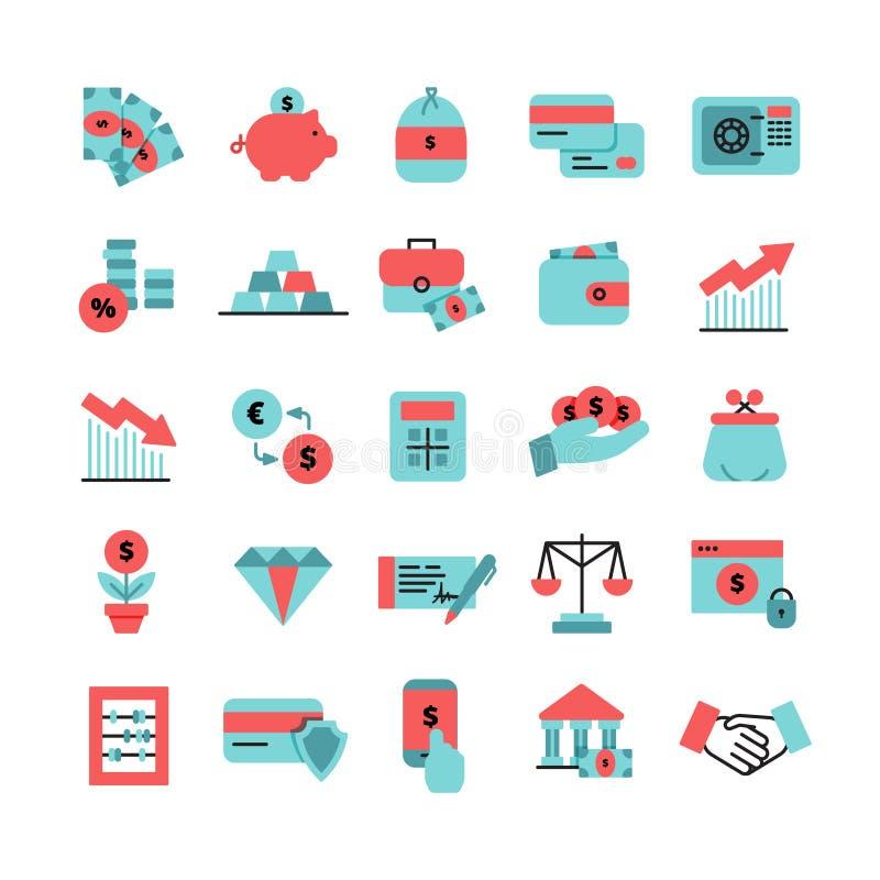 Ícones lisos da finança da cor ajustados ilustração stock