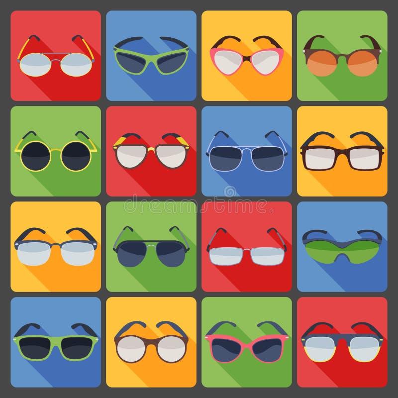 Ícones lisos da forma dos vidros dos óculos de sol ajustados ilustração do vetor