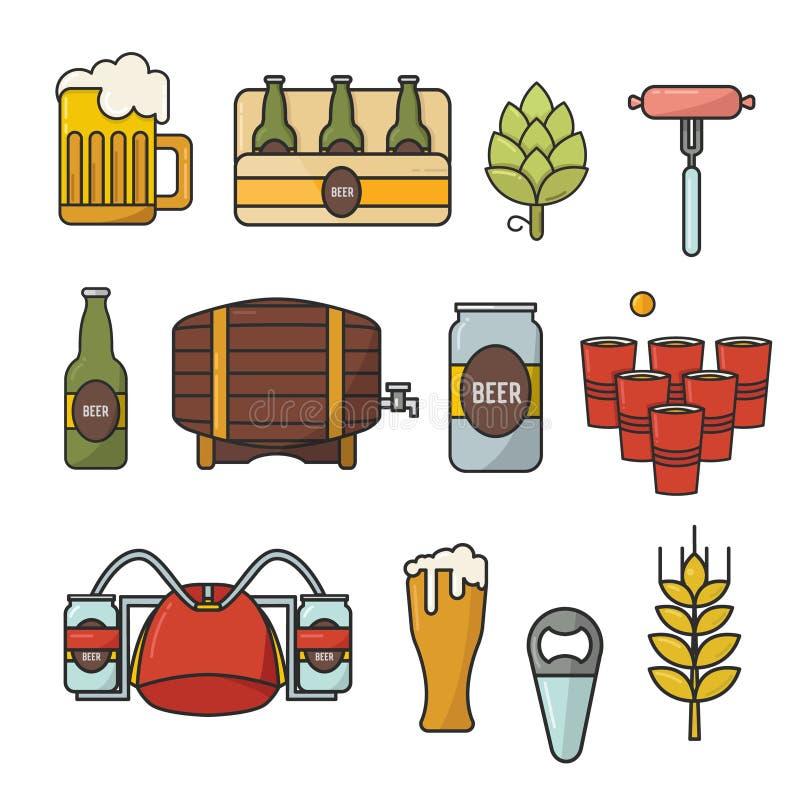 Ícones lisos da garatuja do vetor Grupo de símbolos da cerveja Capacete da cerveja, caneca, vidro, salsicha, tambor, pong da cerv ilustração royalty free