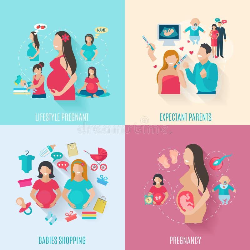 Ícones lisos da gravidez ilustração stock