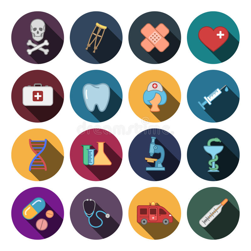 16 ícones lisos da medicina ilustração do vetor