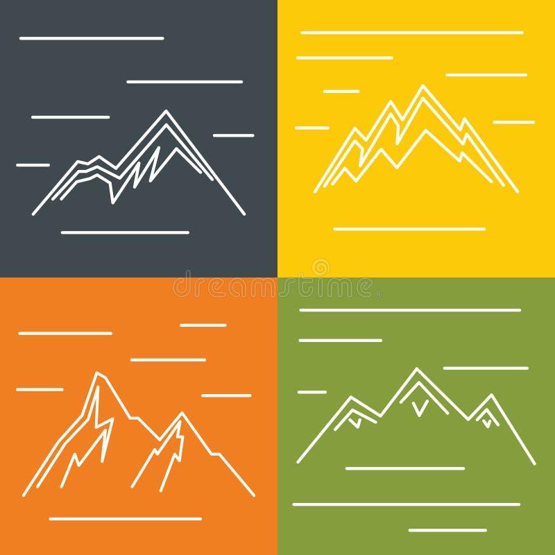 Ícones lisos da montanha com o sol no fundo da cor ilustração stock