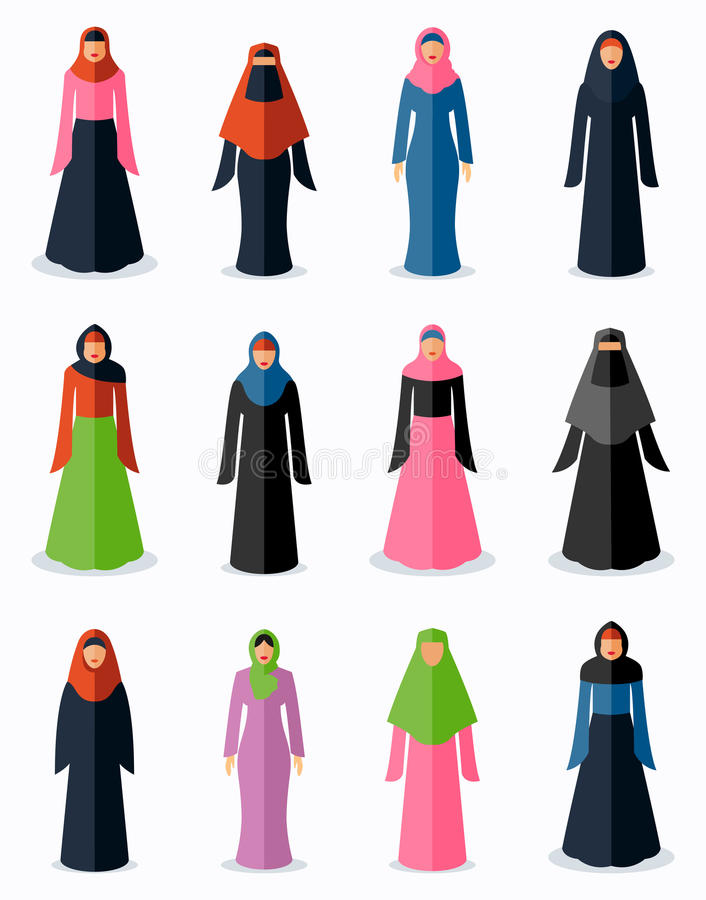Ícones lisos da mulher muçulmana ilustração stock