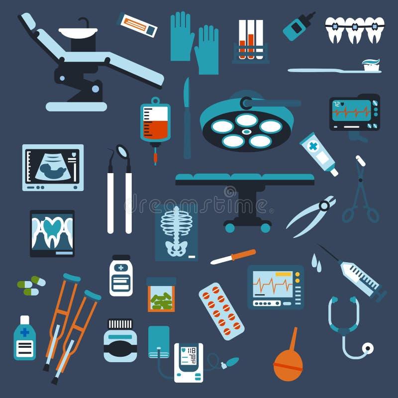 Ícones lisos da odontologia, da cirurgia e do controle médico ilustração stock