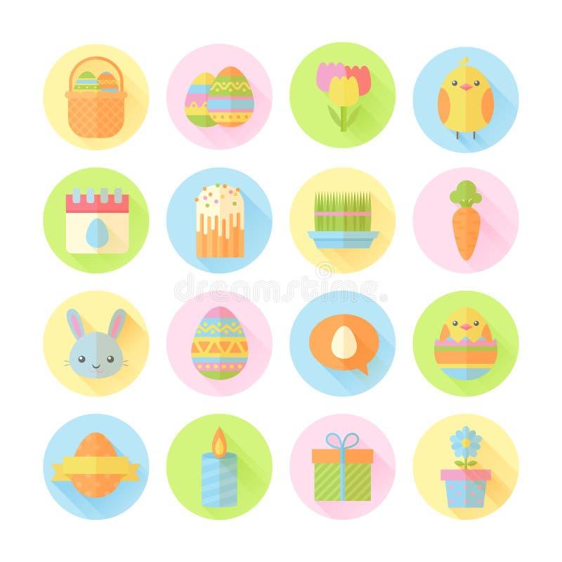 Ícones lisos da Páscoa colorida da mola ajustados ilustração royalty free