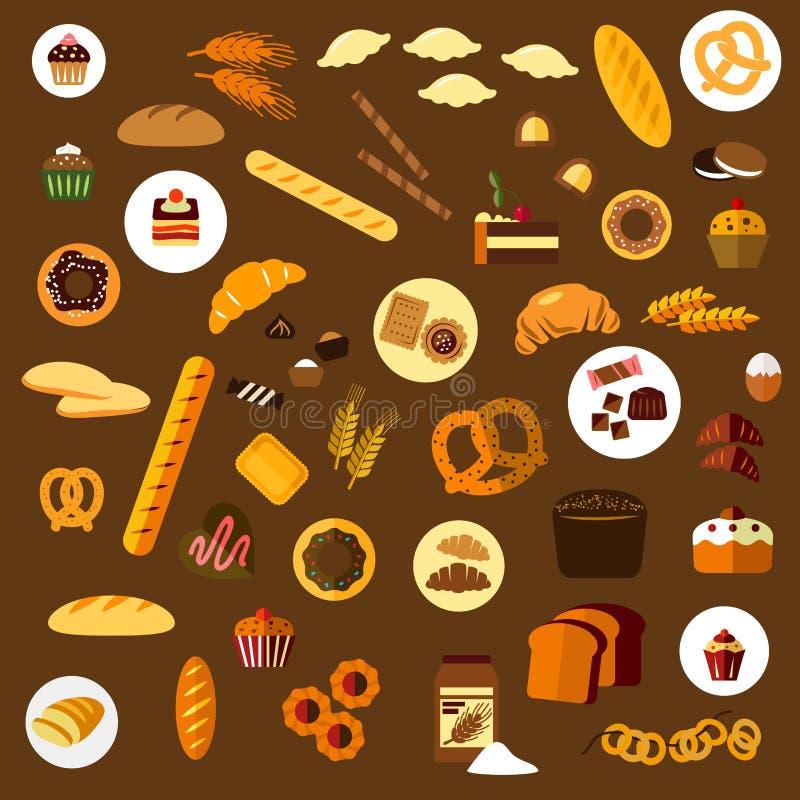 Ícones lisos da padaria, da pastelaria e dos confeitos ilustração do vetor