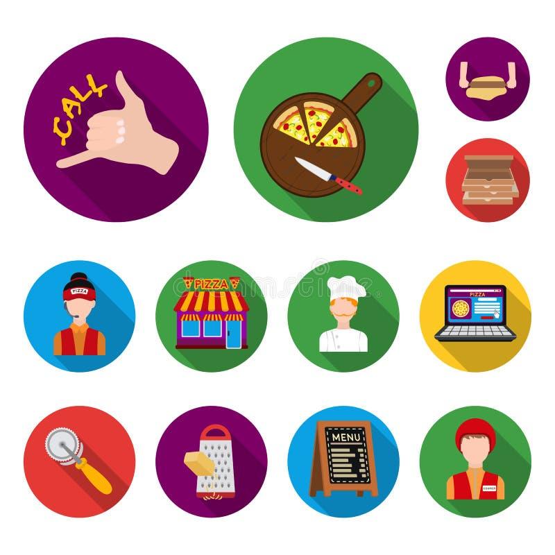 Ícones lisos da pizza e da pizaria na coleção do grupo para o projeto O pessoal e o equipamento vector a ilustração conservada em ilustração stock