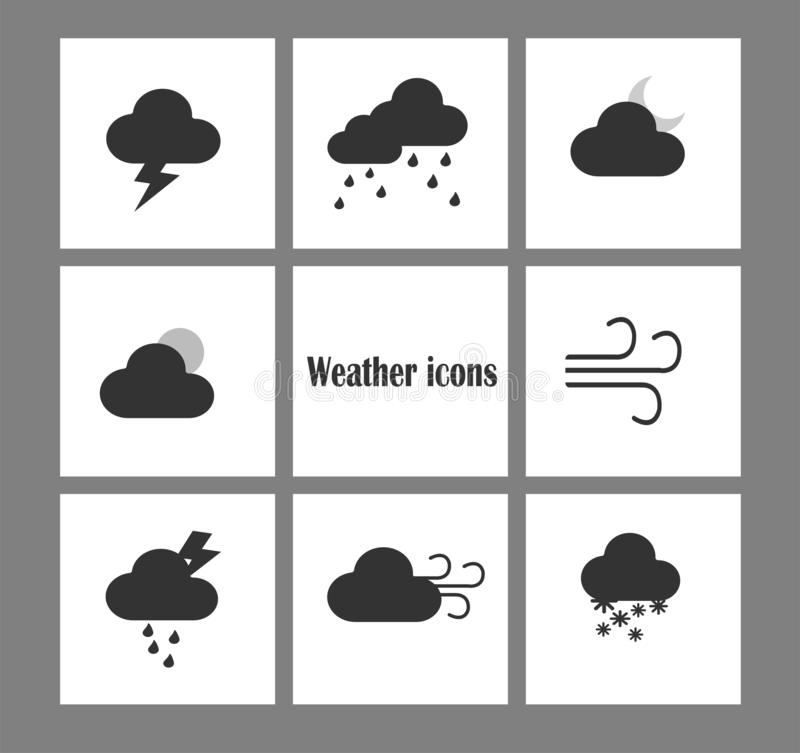 Ícones lisos da previsão de tempo do projeto do vetor Grupo do ?cone da nuvem ilustração stock