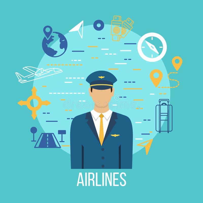 Ícones lisos da profissão piloto com capitão ilustração stock