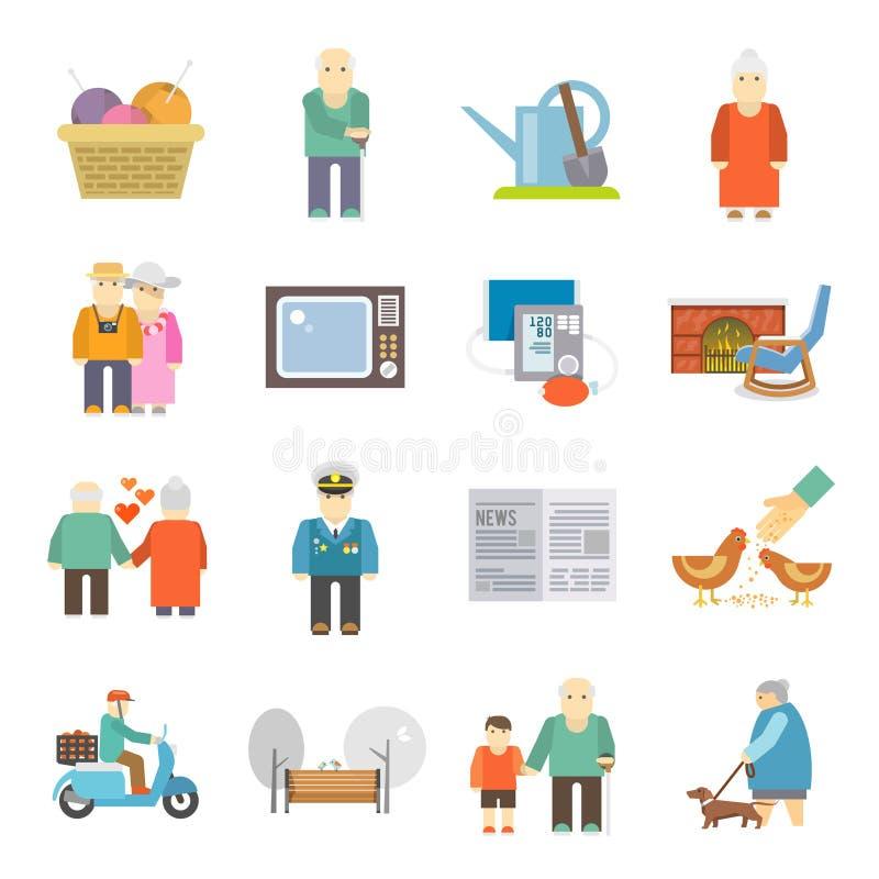 Ícones lisos da vida dos pensionista ajustados ilustração do vetor