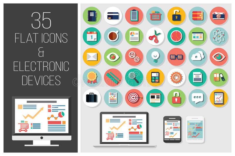 35 ícones lisos da Web e 4 dispositivos eletrónicos ilustração royalty free