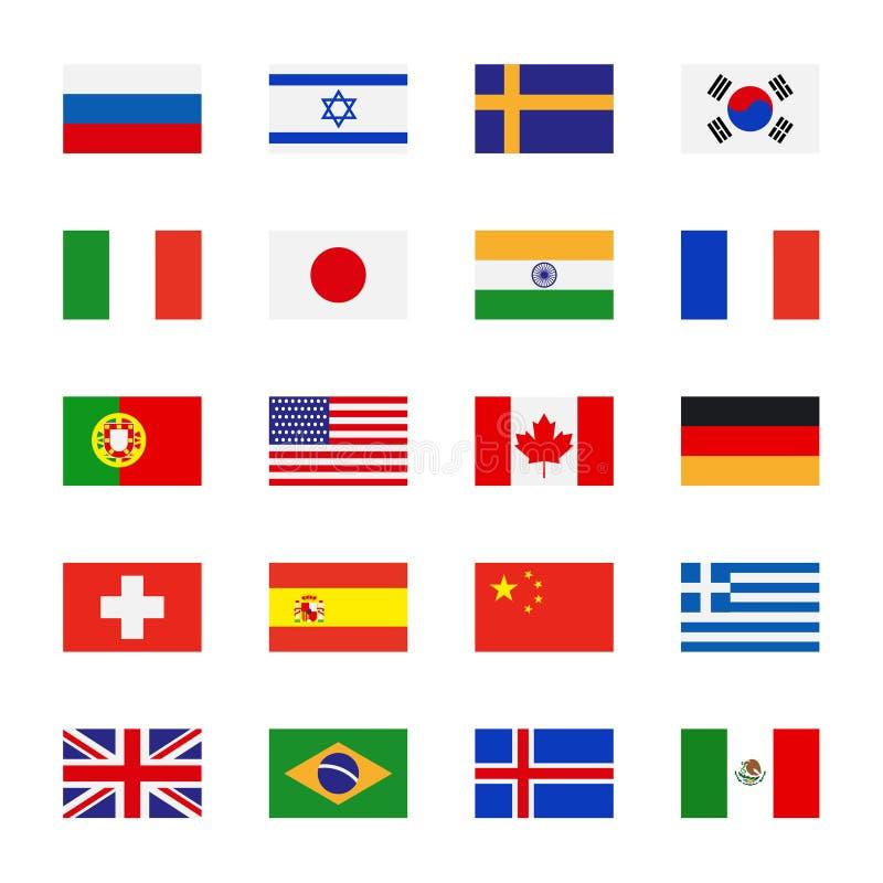 Ícones lisos das bandeiras ilustração stock