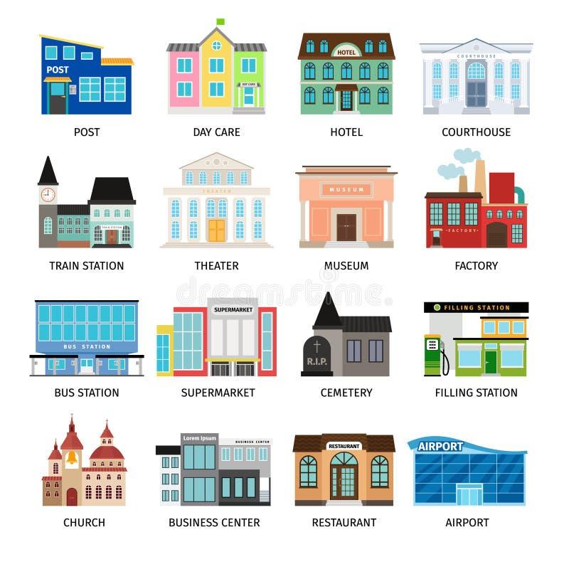 Ícones lisos das construções da cidade no branco ilustração do vetor