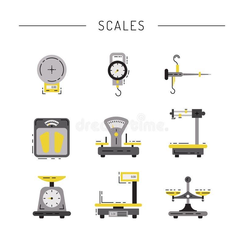 Ícones lisos das escalas ilustração do vetor