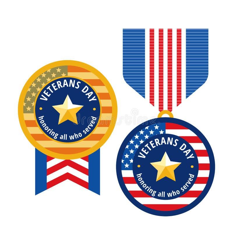 Ícones lisos das medalhas do dia de veteranos ilustração royalty free