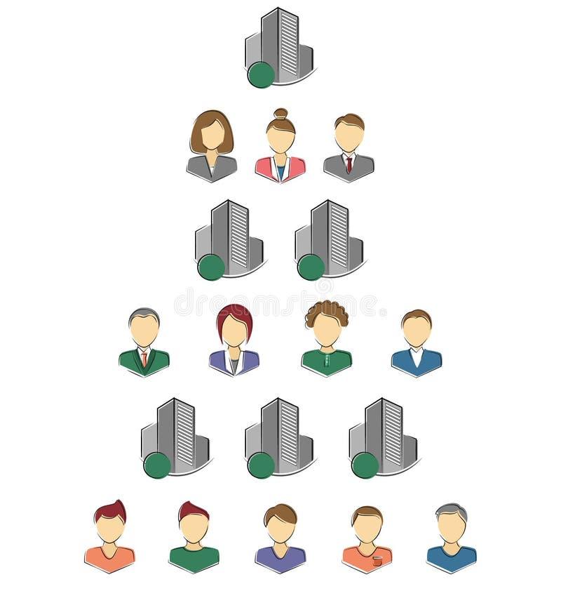 Ícones lisos das pessoas e das construções para infographic isoladas ilustração do vetor
