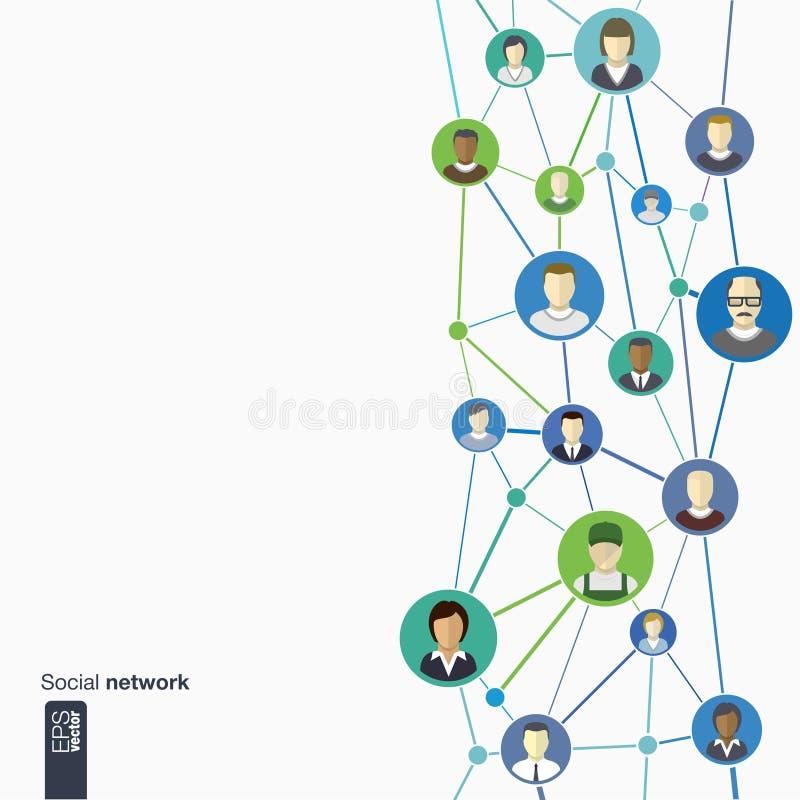 Ícones lisos das pessoas em círculos coloridos para o projeto gráfico Ilustração do vetor ilustração do vetor