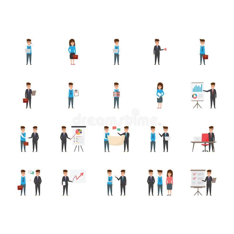 Ícones lisos de 20 caráteres do negócio ilustração do vetor