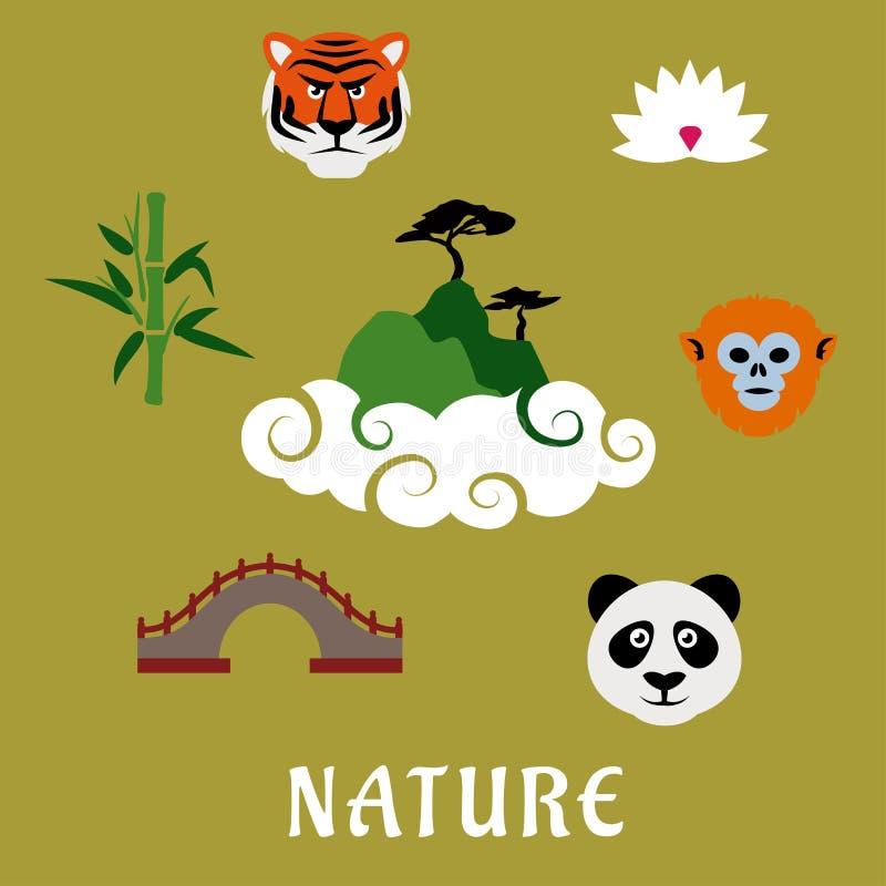 Ícones lisos de China da natureza e dos animais selvagens ilustração stock