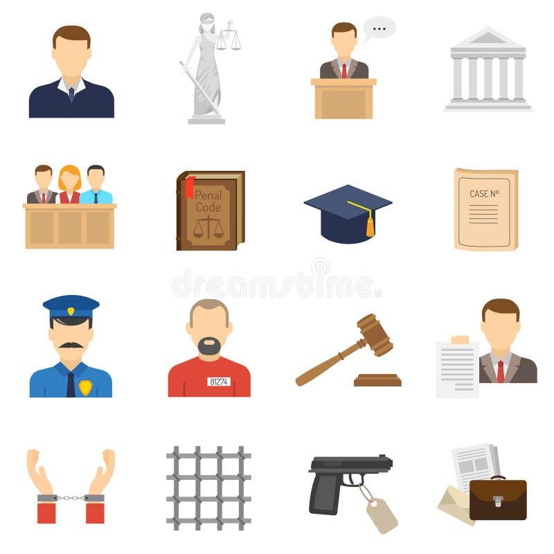 Ícones lisos de justiça ajustados ilustração royalty free
