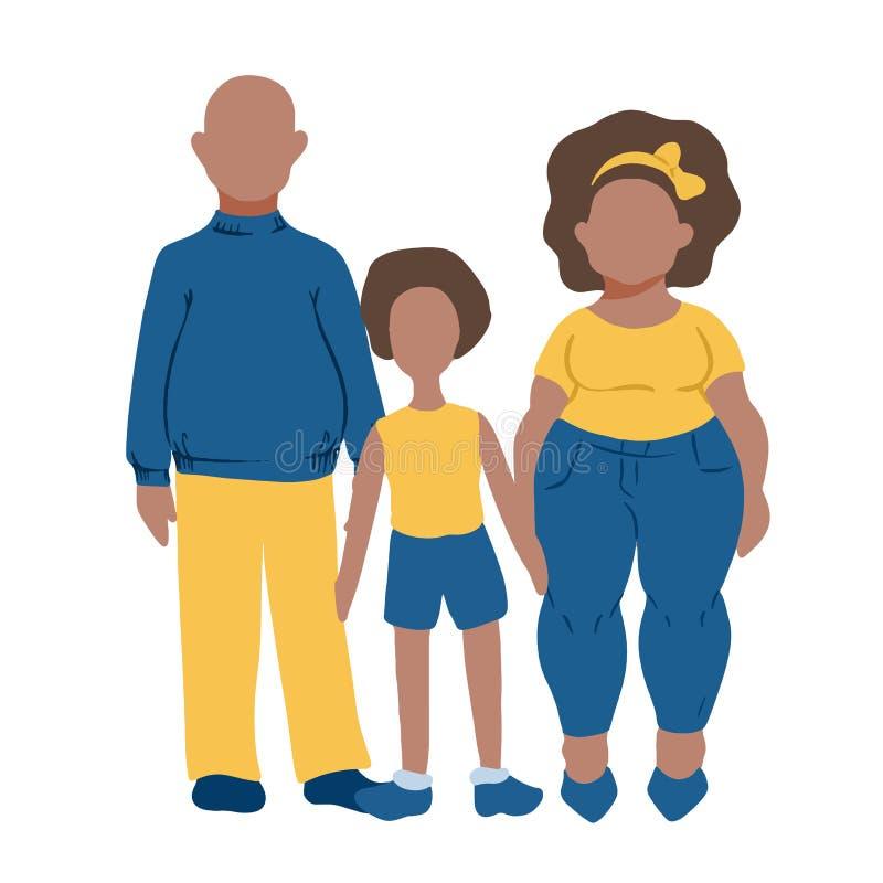 Ícones lisos de MobileFamily ajustados - homem, mulher e criança escuros da pele Família ou conceito do dia das crianças ilustração stock