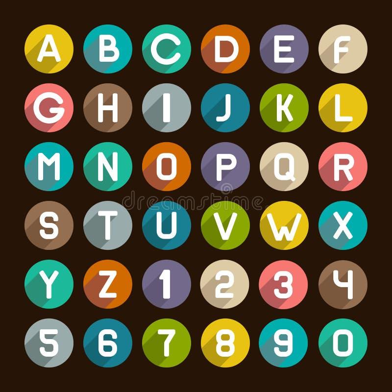 Ícones lisos do alfabeto do estilo ajustados Números e letras ilustração royalty free