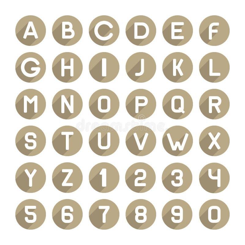 Ícones lisos do alfabeto do estilo ajustados Vetor ilustração stock