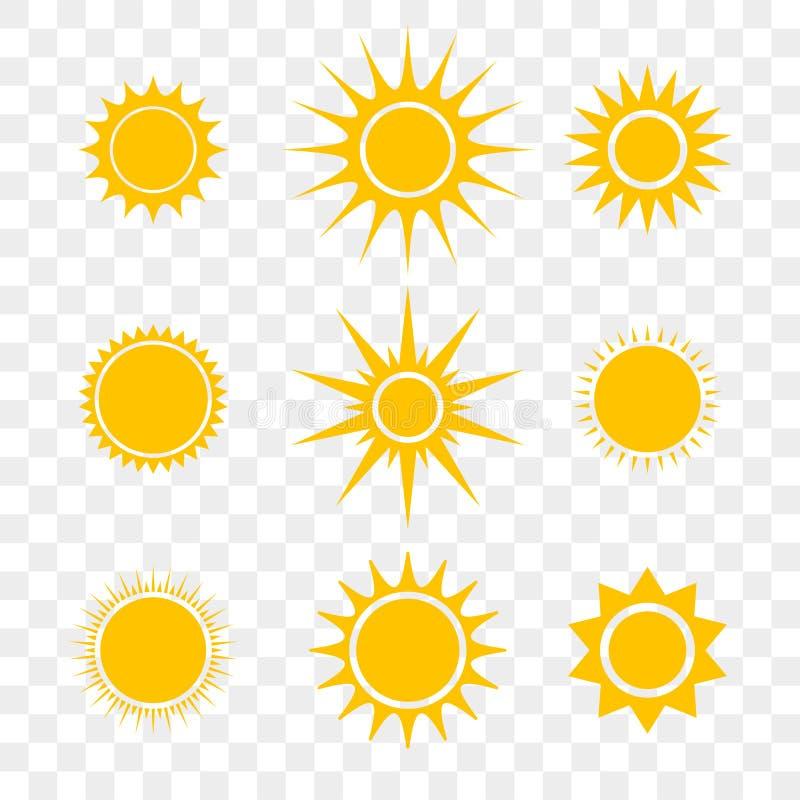 Ícones lisos do amarelo dos desenhos animados de Sun ou de vetor da estrela ajustados ilustração do vetor
