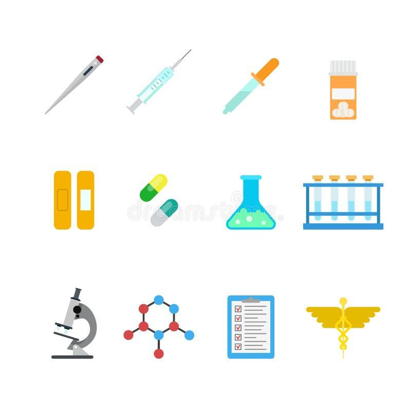 Ícones lisos do app da Web do laboratório do vetor: produto químico do hospital farmacêutico ilustração stock