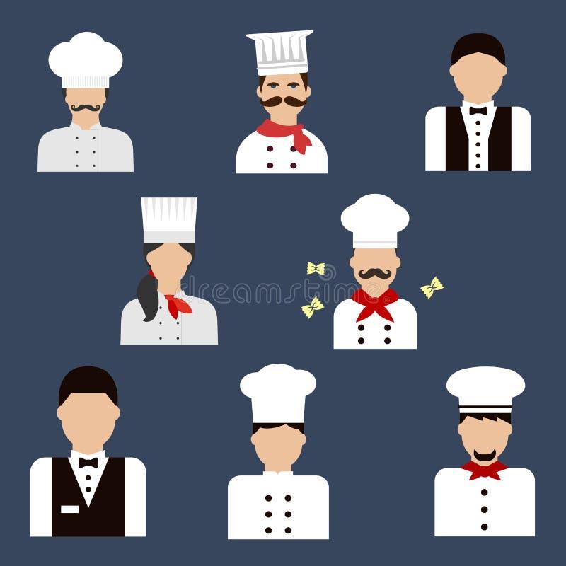 Ícones lisos do avatar dos cozinheiros chefe, dos padeiros e dos garçons ilustração stock