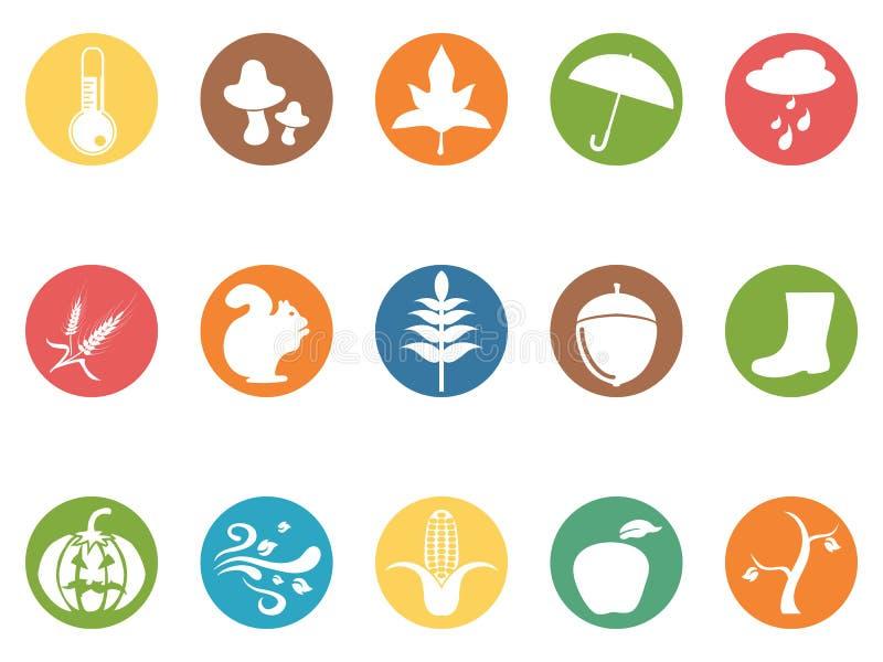 Ícones lisos do botão redondo do outono ajustados ilustração do vetor