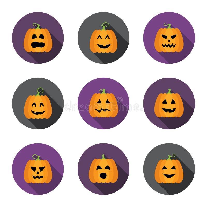 Ícones lisos do círculo das abóboras de Dia das Bruxas ajustados ilustração royalty free