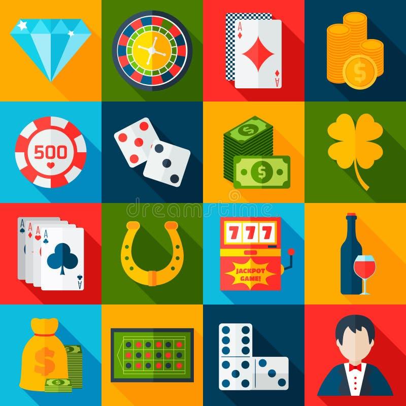 Ícones lisos do casino ilustração stock