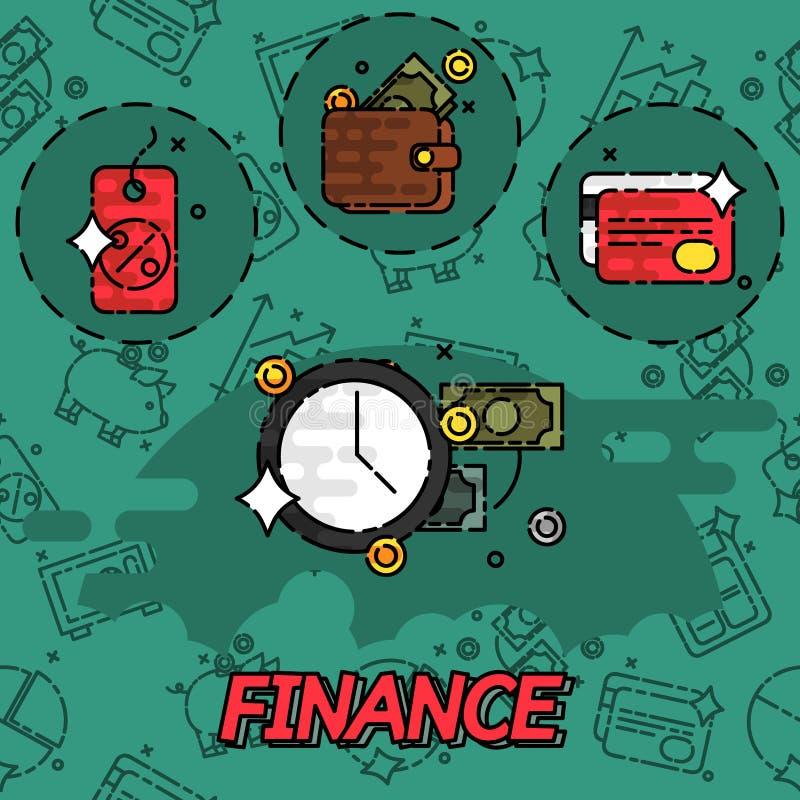 Ícones lisos do conceito da finança ilustração royalty free