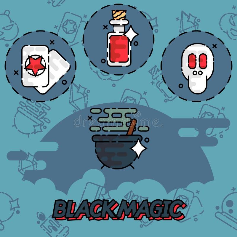 Ícones lisos do conceito da magia negra ilustração stock