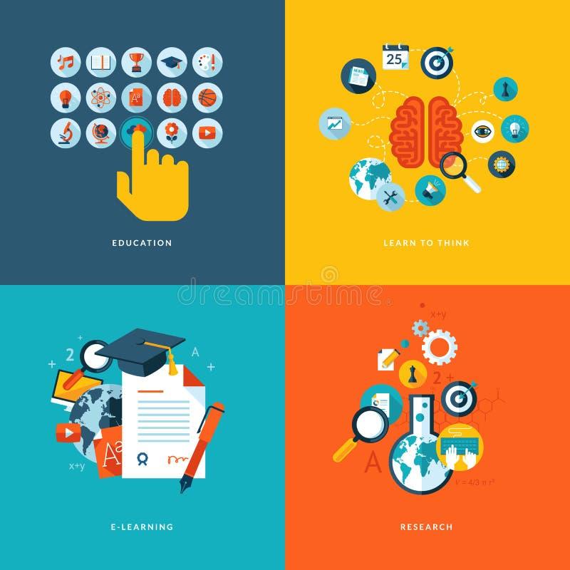 Ícones lisos do conceito de projeto para a educação em linha ilustração stock