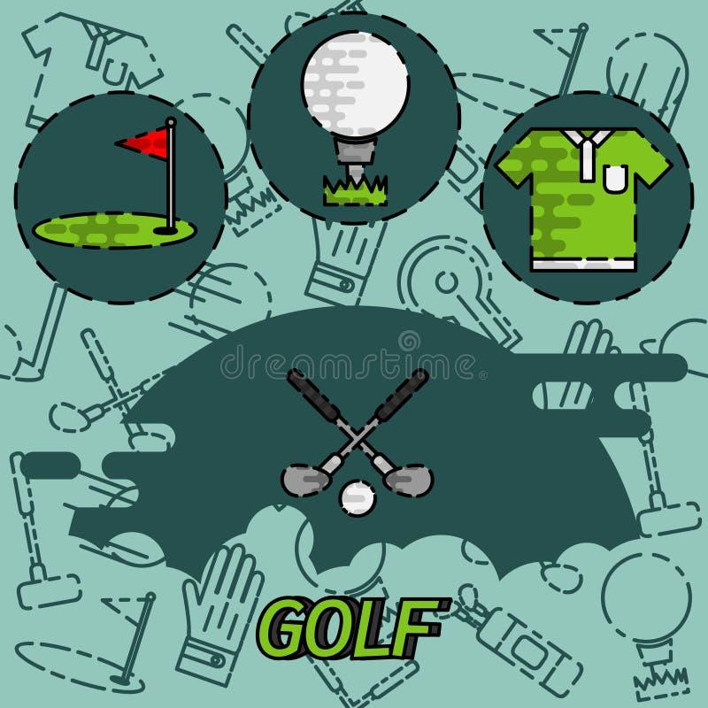 Ícones lisos do conceito do golfe ilustração royalty free