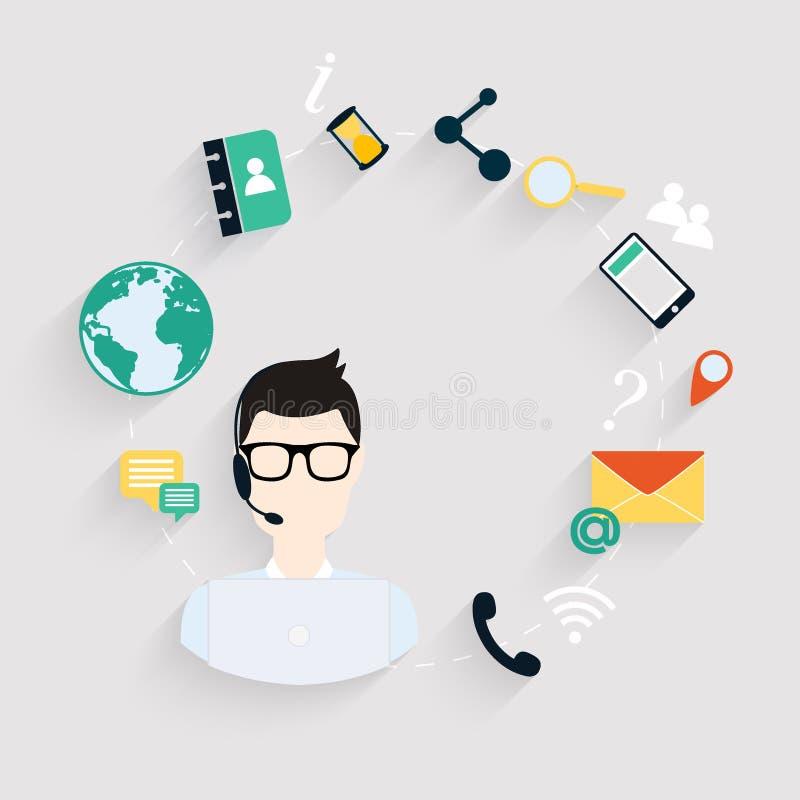 Ícones lisos do conceito do serviço do cuidado do cliente empresa ajustados ilustração stock