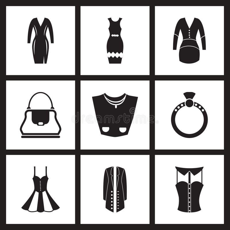 Ícones lisos do conceito na roupa preto e branco das mulheres ilustração do vetor