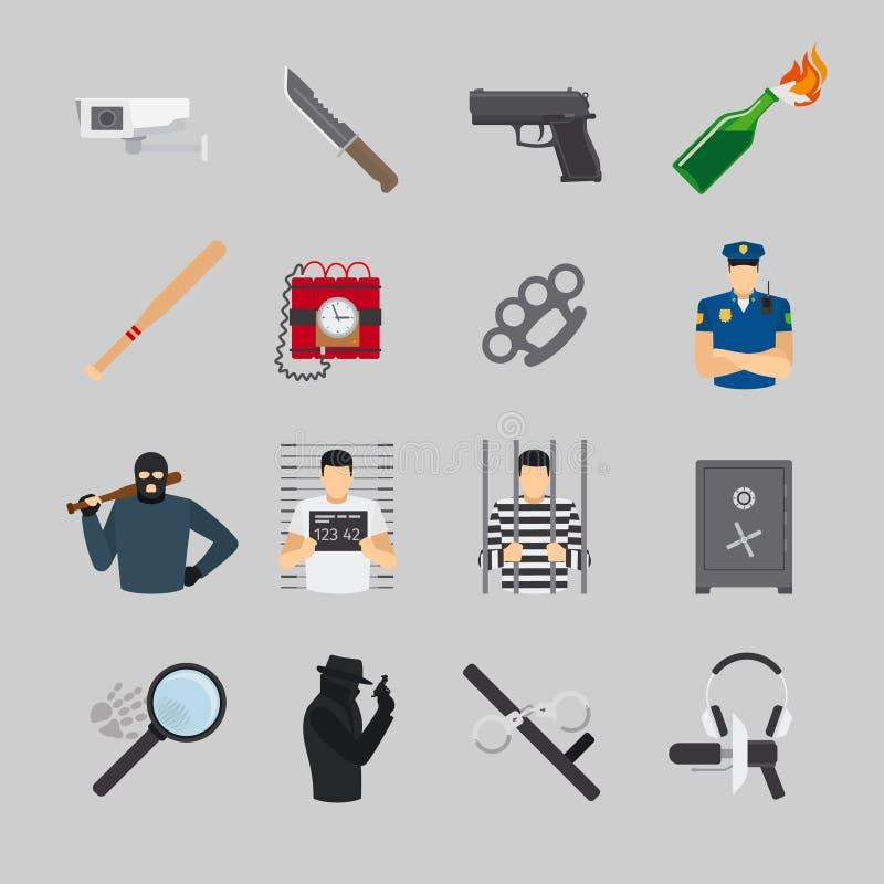 Ícones lisos do crime ilustração stock